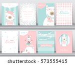 set of baby shower invitation... | Shutterstock .eps vector #573555415