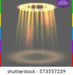 round golden glow rays night... | Shutterstock .eps vector #573557239