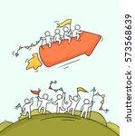 cartoon happy little people... | Shutterstock .eps vector #573568639