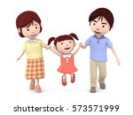 3d illustration  family walk... | Shutterstock . vector #573571999