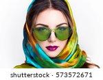 studio photo of the girl in... | Shutterstock . vector #573572671
