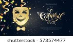 carnival mask  streamers and... | Shutterstock .eps vector #573574477