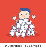 dislike it concept thumbs down... | Shutterstock .eps vector #573574855