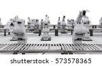 3d rendering robotic arm with... | Shutterstock . vector #573578365