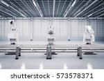 3d rendering robotic arm with... | Shutterstock . vector #573578371