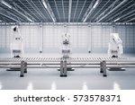 3d rendering robotic arm with... | Shutterstock . vector #573578371