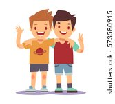 two boys hugging  best friends  ... | Shutterstock .eps vector #573580915