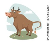 Bull On Field Label Or Badge....