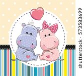 greeting card with two cute... | Shutterstock .eps vector #573583699