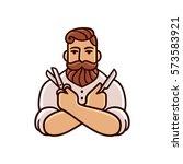 vintage barber illustration... | Shutterstock .eps vector #573583921