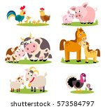 Stock vector big set isolated farm birds animals vector collection funny animals mothers and their children 573584797