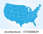 Usa Map On Blue Background....