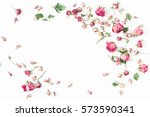 Stock photo flowers composition frame made of dried rose flowers valentine s day flat lay top view 573590341