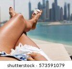 barefoot woman legs at the...   Shutterstock . vector #573591079