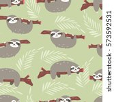 seamless pattern with cute... | Shutterstock .eps vector #573592531