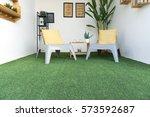 modern cafe interior table... | Shutterstock . vector #573592687