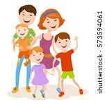 fun cartoon family in colorful... | Shutterstock .eps vector #573594061
