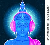 groove. modern buddha listening ... | Shutterstock .eps vector #573613264