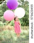 stylish kid girl 4 5 year old...   Shutterstock . vector #573623455