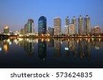 bangkok cityscape reflect with... | Shutterstock . vector #573624835