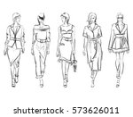 sketch. fashion girls on a... | Shutterstock .eps vector #573626011