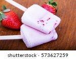 homemade strawberry ice lolly... | Shutterstock . vector #573627259