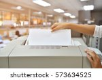 employees are photocopying in... | Shutterstock . vector #573634525