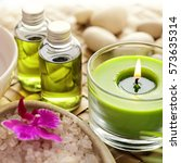 spa still life. aromatherapy... | Shutterstock . vector #573635314