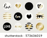 a set of cute and modern round... | Shutterstock .eps vector #573636019