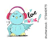 vector cute bird with...   Shutterstock .eps vector #573640975