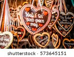 gingerbread hearts at... | Shutterstock . vector #573645151
