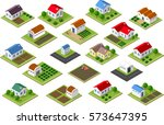 isometric icon rural | Shutterstock . vector #573647395