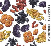 dried fruits seamless pattern... | Shutterstock .eps vector #573649861