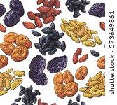 dried fruits seamless pattern... | Shutterstock .eps vector #573649861