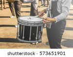 A Young Guy Is Playing Snare...