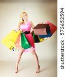 buying things  shopaholic ...   Shutterstock . vector #573652594