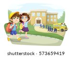 school children going to school ... | Shutterstock .eps vector #573659419