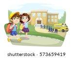 school children going to school ... | Shutterstock .eps vector #573659419