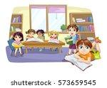 classroom full of children | Shutterstock .eps vector #573659545