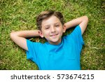 portrait of cute young boy... | Shutterstock . vector #573674215