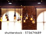 vintage lighting bulbs decor in ... | Shutterstock . vector #573674689
