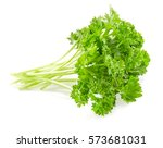 fresh parsley on a white... | Shutterstock . vector #573681031
