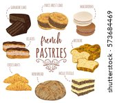 french pastries collection.... | Shutterstock .eps vector #573684469