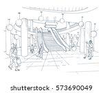 modern interior shopping center ... | Shutterstock .eps vector #573690049