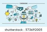 fundraising. line art flat... | Shutterstock .eps vector #573692005