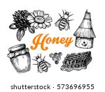 honey hand drawn vintage set. | Shutterstock .eps vector #573696955