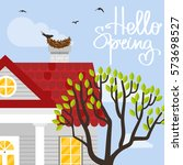 vector illustration with house... | Shutterstock .eps vector #573698527