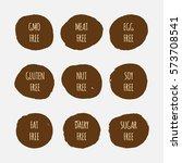 set of allergen free stickers.... | Shutterstock .eps vector #573708541