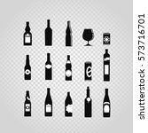 different black bottles and... | Shutterstock .eps vector #573716701
