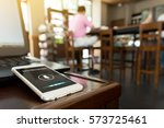Small photo of Voice recognition , speech detect and deep learning concept. Application on mobile phone screen in coffee shop background with flare light effect